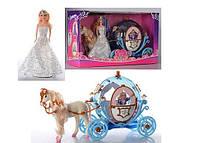 Карета с лошадью и куклой Принцессой, лошадь ходит, свет и музыка