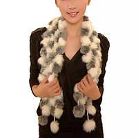Женский шарф из кролика серый с белым