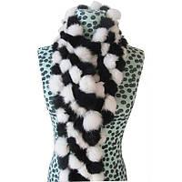 Женский шарф из кролика черный с белым, фото 1