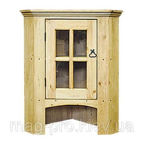 Витрина угловая надставка деревянная сосна (натуральное дерево), фото 2
