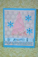 """Новогодняя открытка """"Новогодняя елка"""" (ручная робота)"""