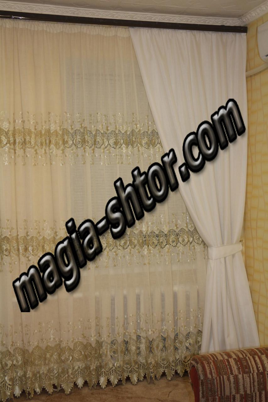 Портьерная ткань белый лён