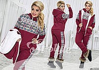 Теплый спортивный костюм тройка с орнаментом: штаны, толстовка и жилетка большие размеры батал
