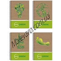 Блокнот на спирали, формат  В-5, 160 листов , клетка,  цветные поля, Серия EKO. THINK GREEN.