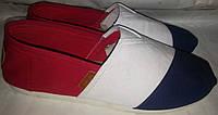 Кеды тапки слипоны FASHION сине бело красные кож сзади