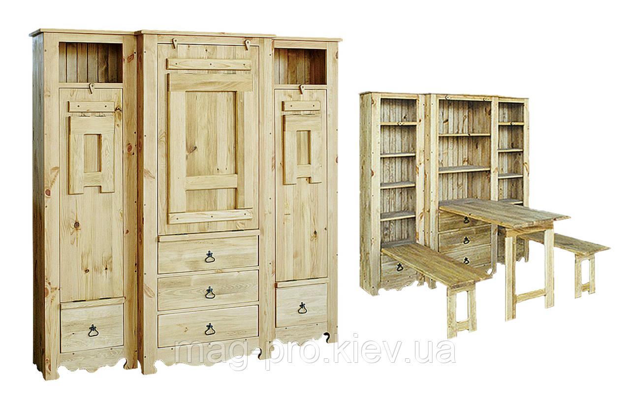 Шкаф деревянный, сосна (натуральное дерево)