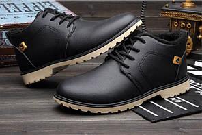 Зимние мужские ботинки черные Турция, кожа, полиуретановая подошва, внутри и стелька на овчине р-р 42-45