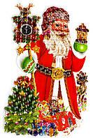 """Наклейка новогодняя объемная 5D """"Дед Мороз"""" 42*65 см."""