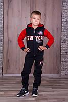 Тёплый спортивный костюм с капюшоном для мальчиков тёмно синий с красным рукавом