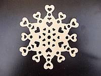 Снежинка №3, игрушка из дерева, 10 см