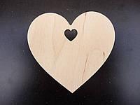 Сердечко, елочная игрушка из дерева, 10 см
