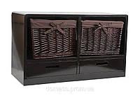 Тумба с деревянными ящиками и корзинами для хранения вещей