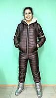 Женский модный коричневый (шоколад) лыжный теплый костюм VERSACE. Арт-652