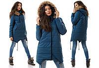 Зимняя куртка удлиненная синтепоновая с капюшоном с мехом