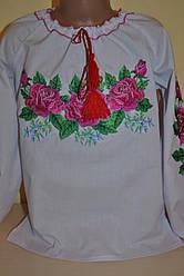 """Вышиванка на девочку """" Розовые розы №2 """""""