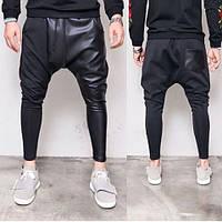 Штаны мужские хлопок, модные штаны кожа вставки