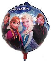Воздушный шарик на палочке маленький Холодное сердце 21 х 21 см.