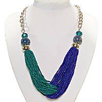Ожерелье из бисера зеленый синий цвет бусины вставки золотой серый зеленый на серебристой цеп