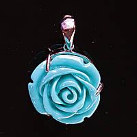 [20/20 мм.] Кулон подвеска Роза Полимерная Глина Голубая