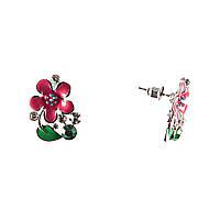 """Серьги-пусеты """"Цветы"""" красные с зелёными листьями-эмаль,стразы, металл под """"серебро""""\30×20mm"""