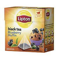 Чай Липтон Blueberry Muffin черный со вкусом черничного кекса 20 пирамидок