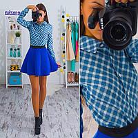 Костюм джинсовая рубашка в клетку и короткая юбка из неопрена Kb162