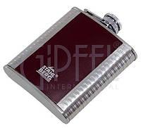 8294-S Стильная стальная фляга, декорированная кожей купить в подарок мужчине