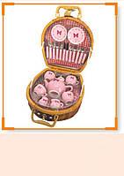Посуда фарфор C32403-FA чайник,чашки,блюдца,фраже,в чемодане