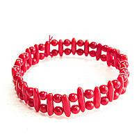 [10 см] Браслет на резинке красный Коралл тонкие камни