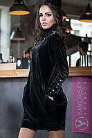Чёрное вечернее велюровое платье