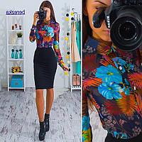 Костюм рубашка из шифона и юбка-карандаш кукуруза 4 расцветки Kb163