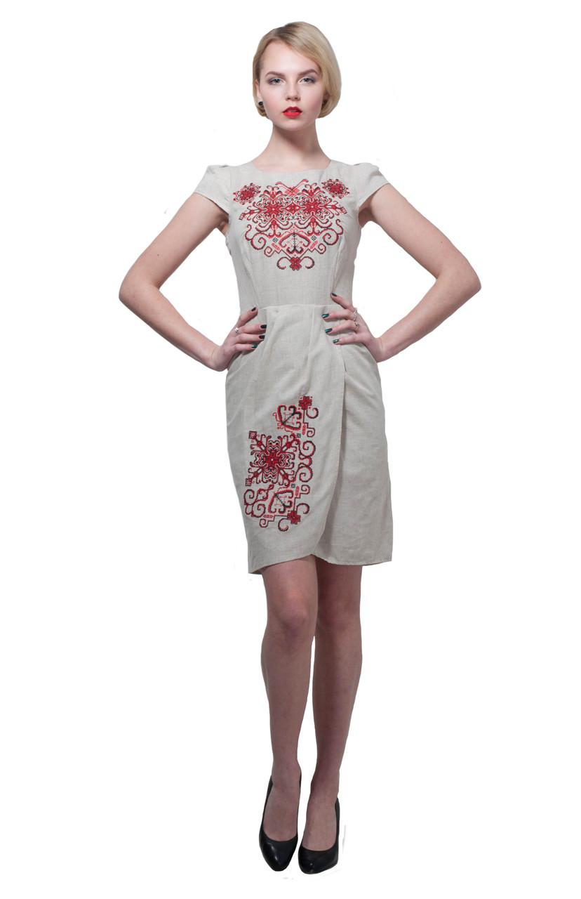 Вышитое платье Роксолана серое с красным M
