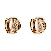 Xuping. Серьги круглые золотого цвета, украшеные узором из листьев со стразами