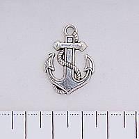 Фурнитура подвеска Якорь, цвет серебро