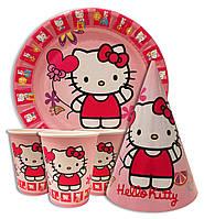 """Набор для детского дня рождения """"Китти"""". Тарелки, стаканчики и колпачки по 10шт."""