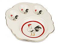 Блюдо для яиц Петух керамическое диаметр 18 см красные цвета 69-041
