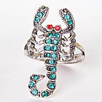 [17,18,19,20] Кольцо скорпион страза голубой