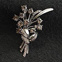 [50/70 мм] Брошь металл под капельное серебро Букет Цветов со стразами кристалл сатин
