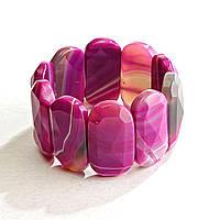 [10 см] Браслет на резинке малиновый Агат граненный овальные камни