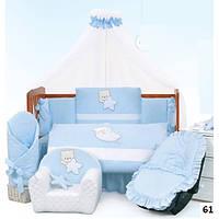 Детское постельное белье в кроватку Tuttolina 7 елементов  расцветки разные