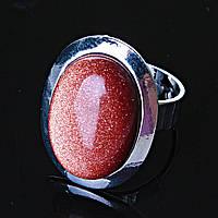 Кольцо без р-р  овал Авантюрин Золотой Песок гладкая оправа