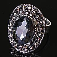 """Кольцо  оправа  """"под капельное серебро"""" серый овальный кристалл  2,5*1,8 см без р-р"""
