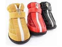 Ботинки для собак (кожа PU+брезент). Обувь для собак крупных пород.