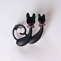 [25/25 мм.] Брошь  Черные Кошечки матовые с белыми и розовыми стразами металлическая