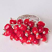 Кольцо безразмерка гроздь рябина коралл на гвоздике