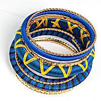 [6см] Браслет женский, твёрдый, из нескольких элементов, выполнен в сине- желтой гамме