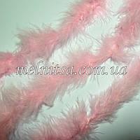 Пуховое тонкое боа, пух на нити, 1,8 м, цвет розовый, 4-5см