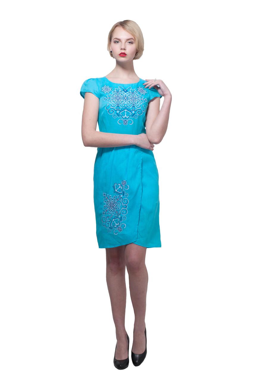 Вышитое платье Роксолана голубое с синим
