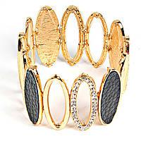 [5-6см] Браслет женский, цвет- золото, с пустыми овальными элементами и четырьмя темными крупными камнями