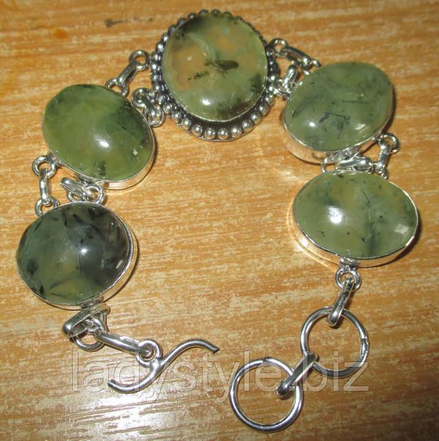 купить серебряный браслет натуральный шерл турмалин пренит купить